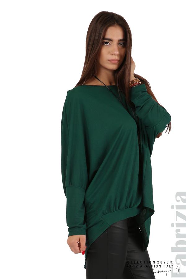 Свободна блуза с цепка на гърба и аксесоар т.зелен 5 fabrizia