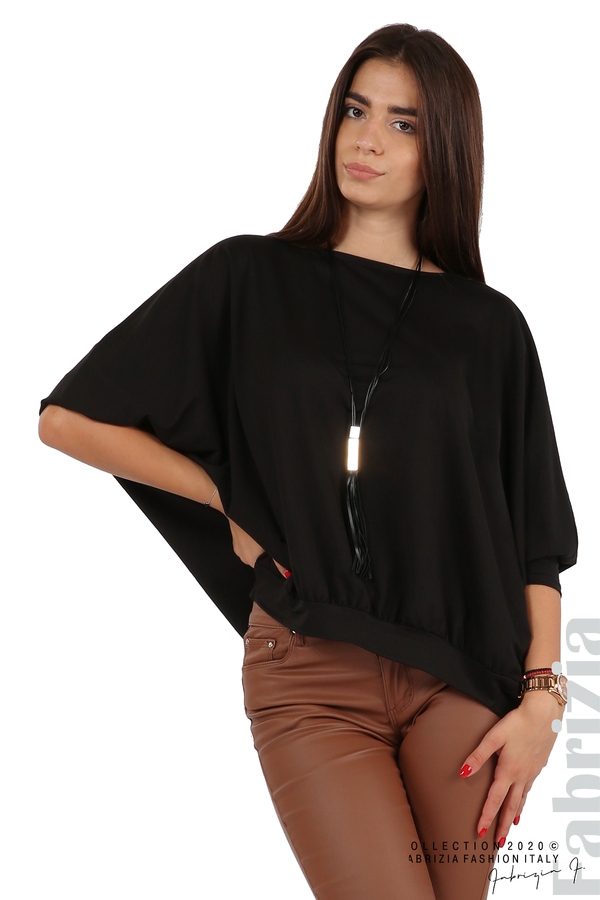 Свободна блуза с цепка на гърба и аксесоар черен 4 fabrizia