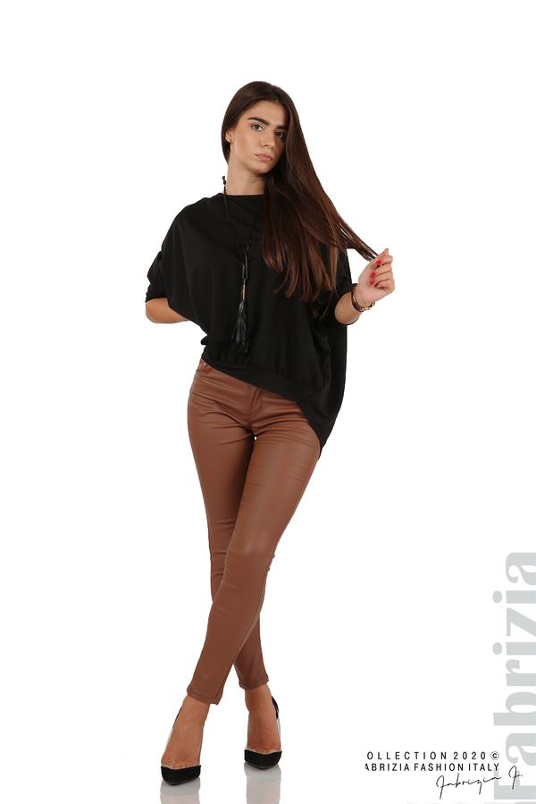 Свободна блуза с цепка на гърба и аксесоар черен 3 fabrizia