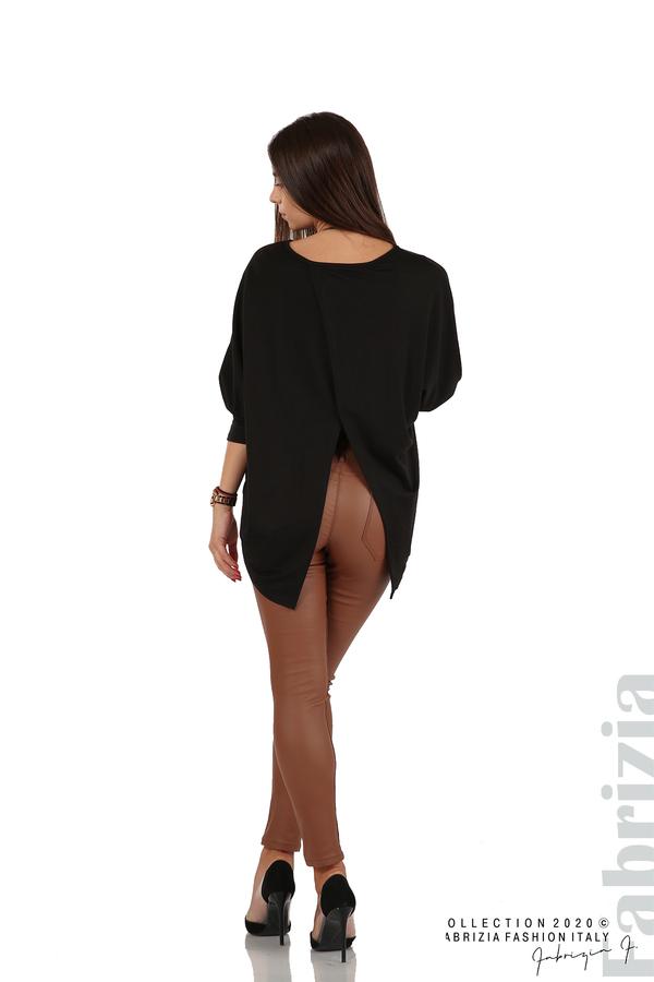 Свободна блуза с цепка на гърба и аксесоар черен 6 fabrizia