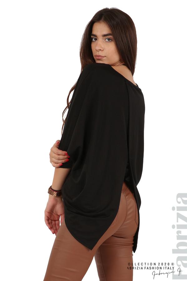 Свободна блуза с цепка на гърба и аксесоар черен 2 fabrizia