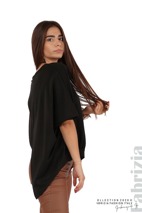 Свободна блуза с цепка на гърба и аксесоар черен 1 fabrizia