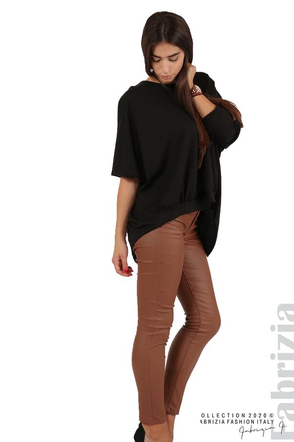 Свободна блуза с цепка на гърба и аксесоар черен 5 fabrizia