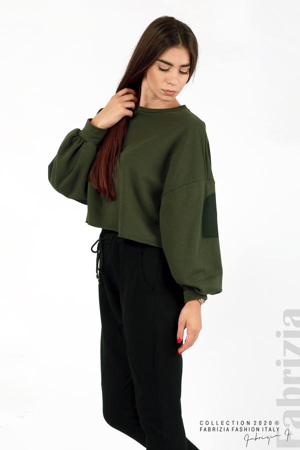 Широка блуза с надпис Powers каки 5 fabrizia