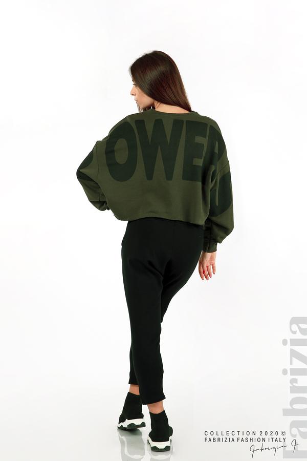 Широка блуза с надпис Powers каки 7 fabrizia