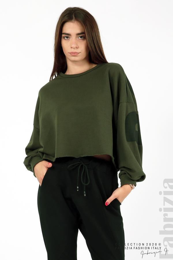 Широка блуза с надпис Powers каки 3 fabrizia