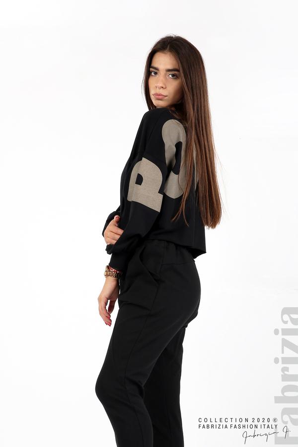 Широка блуза с надпис Powers черен 4 fabrizia