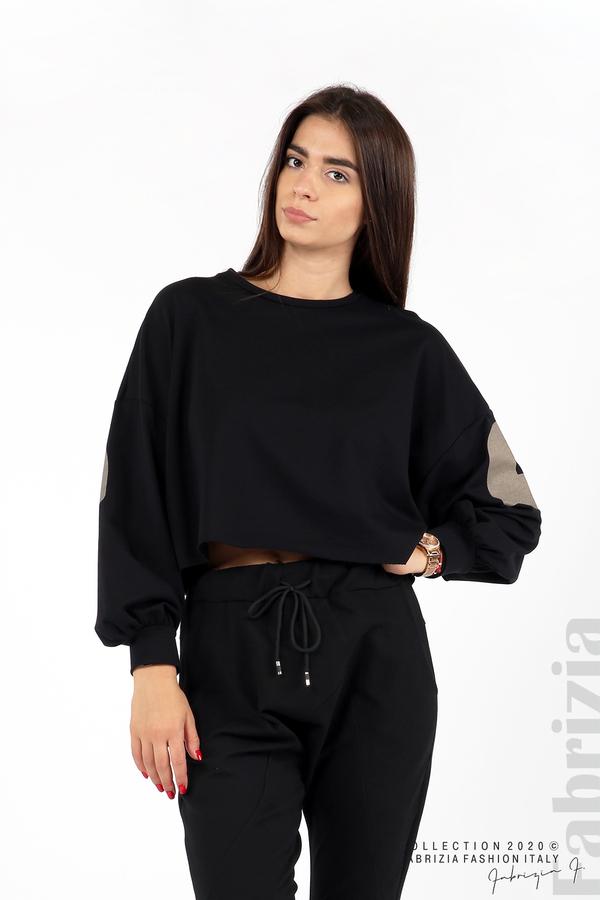 Широка блуза с надпис Powers черен 1 fabrizia