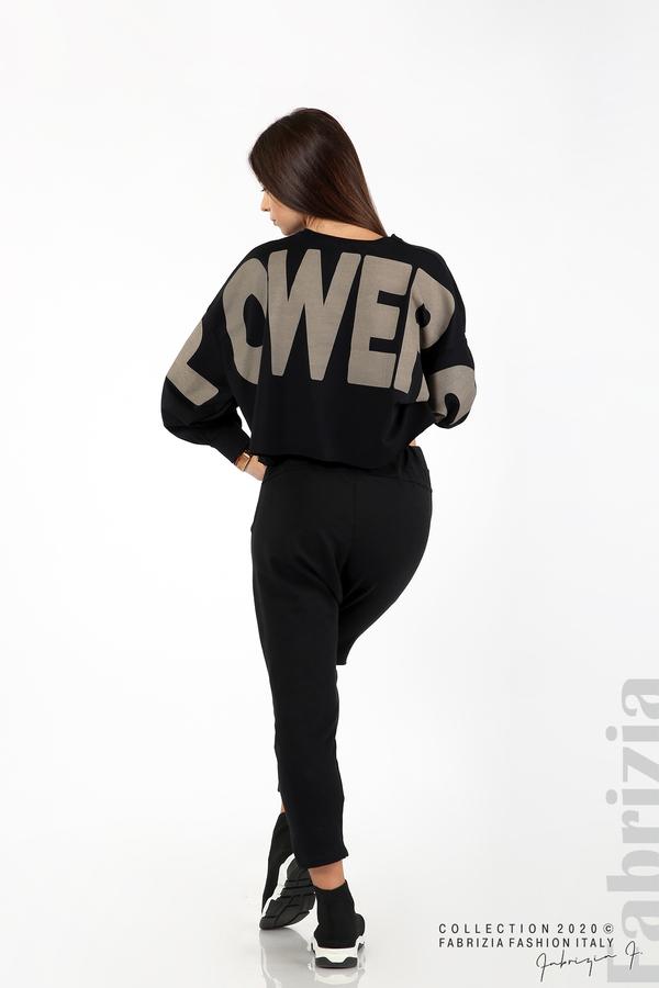 Широка блуза с надпис Powers черен 6 fabrizia