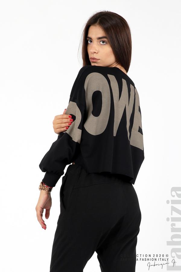 Широка блуза с надпис Powers черен 2 fabrizia