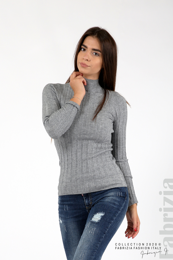 Рипсена блуза с ниска поло яка сив 1 fabrizia