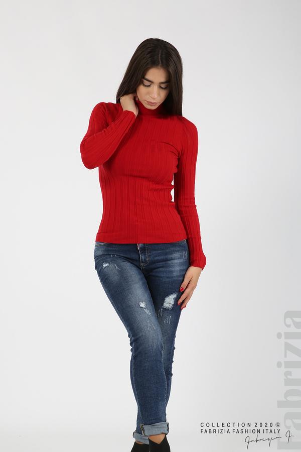 Рипсена блуза с ниска поло яка червен 3 fabrizia