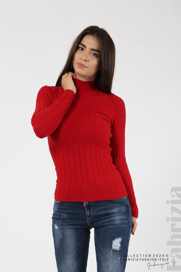 Рипсена блуза с ниска поло яка червен 1 fabrizia
