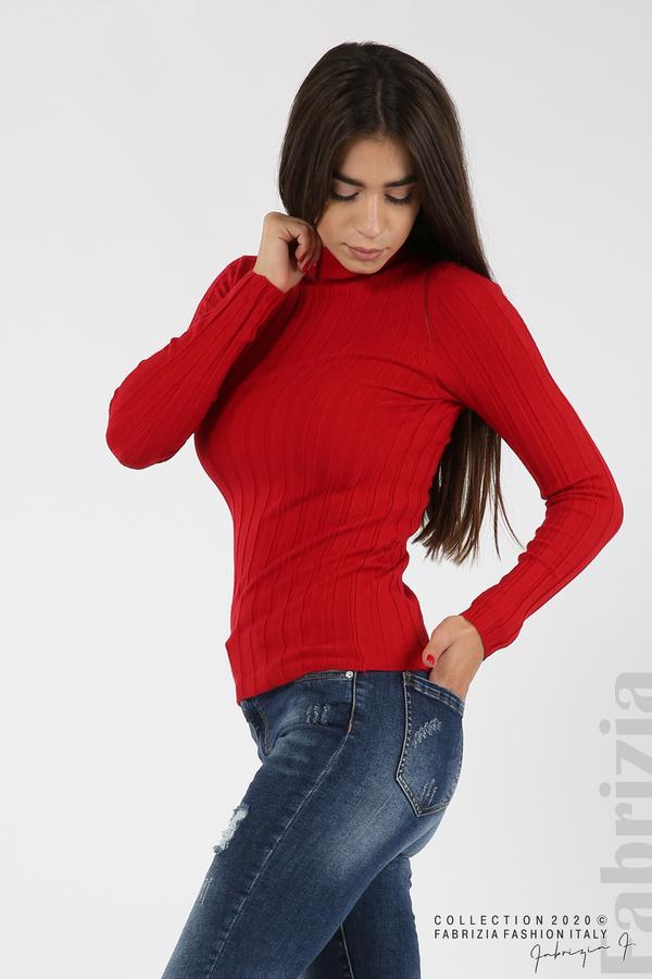 Рипсена блуза с ниска поло яка червен 2 fabrizia