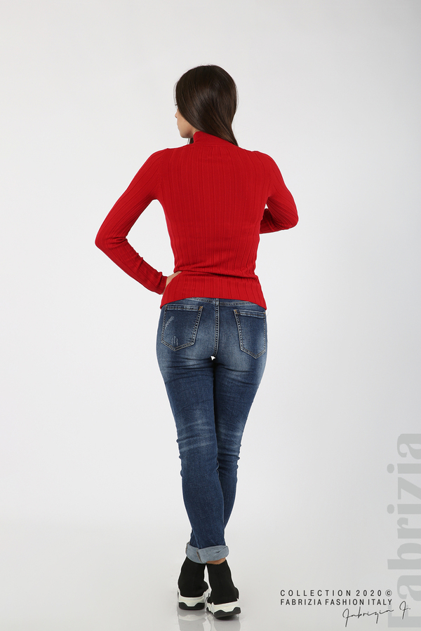 Рипсена блуза с ниска поло яка червен 5 fabrizia