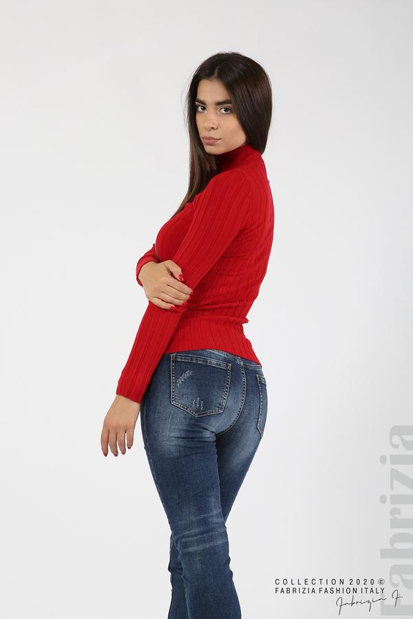 Рипсена блуза с ниска поло яка червен 4 fabrizia
