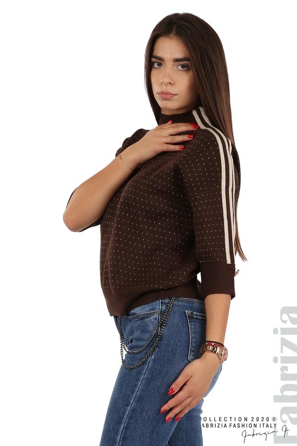 Блуза с къс ръкав и кантове на раменете т.кафяв 3 fabrizia
