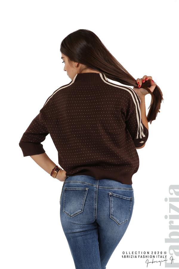 Блуза с къс ръкав и кантове на раменете т.кафяв 6 fabrizia
