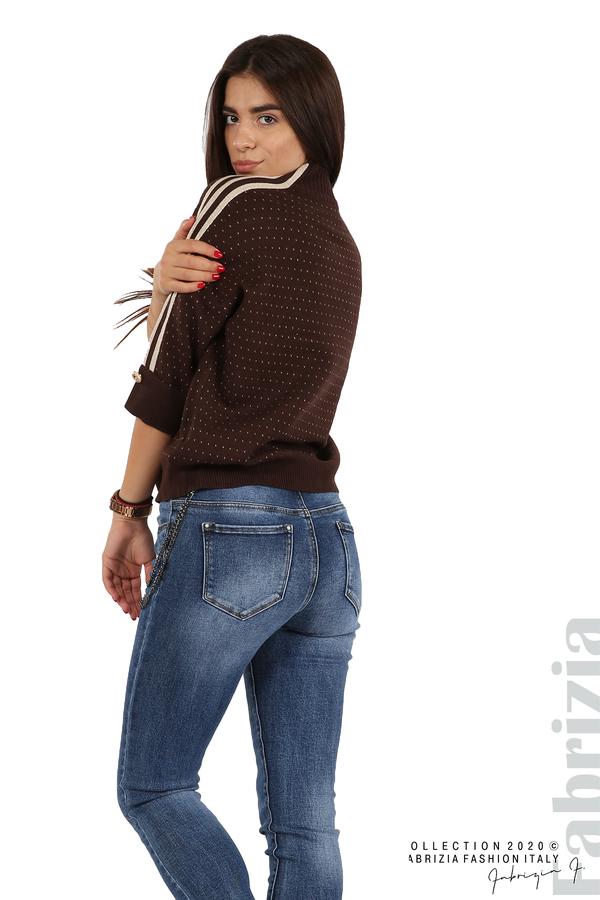 Блуза с къс ръкав и кантове на раменете т.кафяв 4 fabrizia