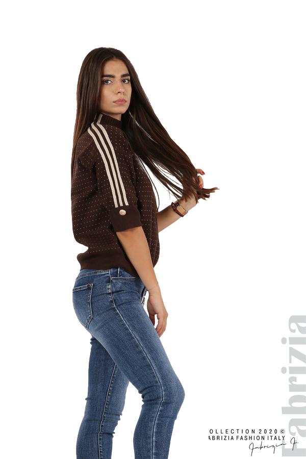 Блуза с къс ръкав и кантове на раменете т.кафяв 5 fabrizia