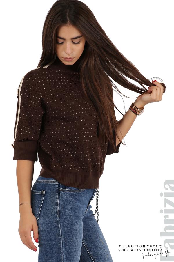 Блуза с къс ръкав и кантове на раменете т.кафяв 2 fabrizia