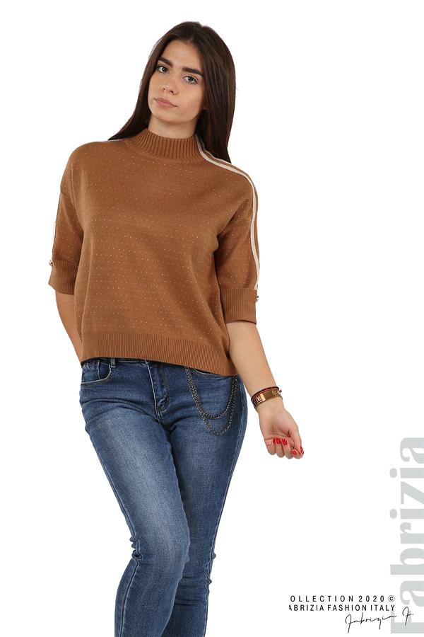 Блуза с къс ръкав и кантове на раменете камел 3 fabrizia