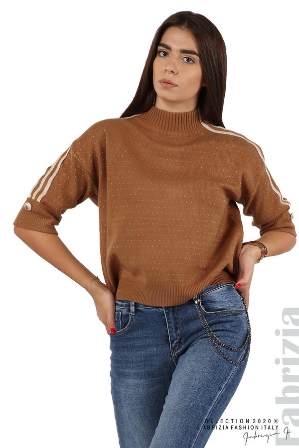 Блуза с къс ръкав и кантове на раменете камел 2 fabrizia