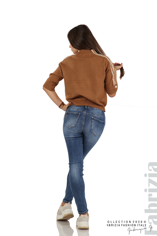 Блуза с къс ръкав и кантове на раменете камел 6 fabrizia