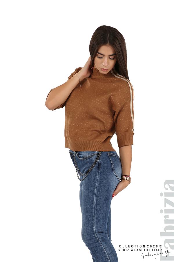 Блуза с къс ръкав и кантове на раменете камел 4 fabrizia
