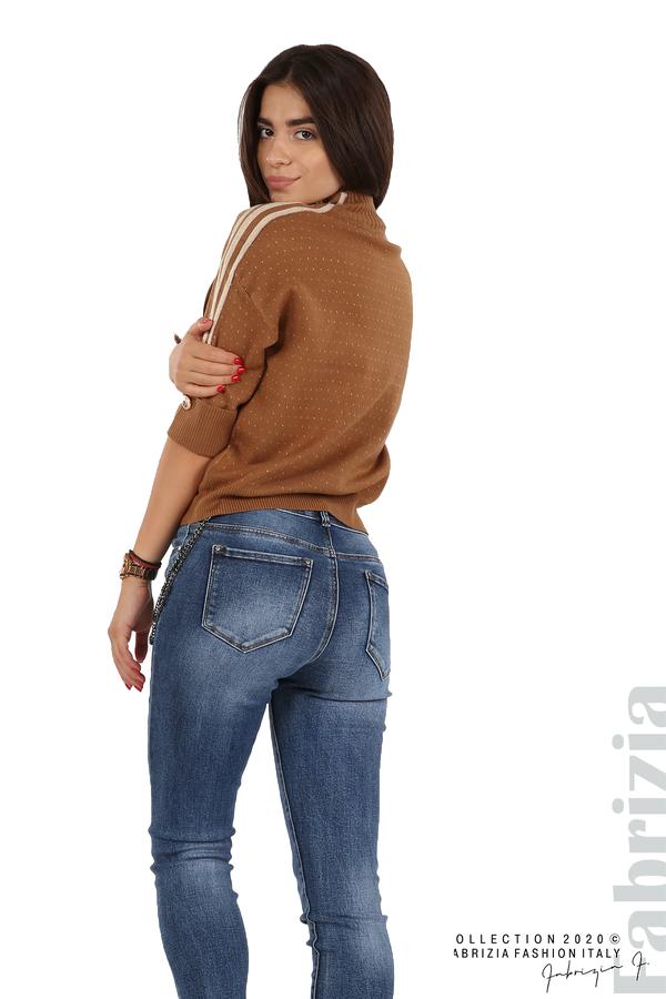 Блуза с къс ръкав и кантове на раменете камел 5 fabrizia