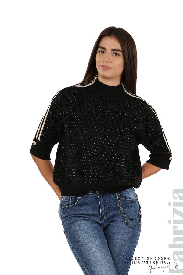 Блуза с къс ръкав и кантове на раменете черен 1 fabrizia