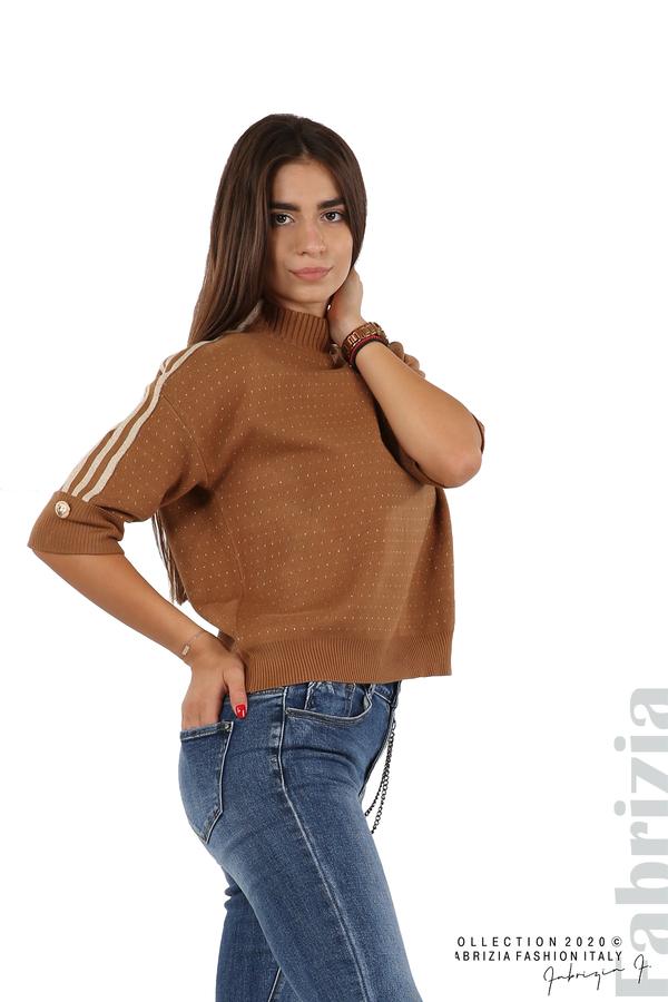 Блуза с къс ръкав и кантове на раменете камел 1 fabrizia