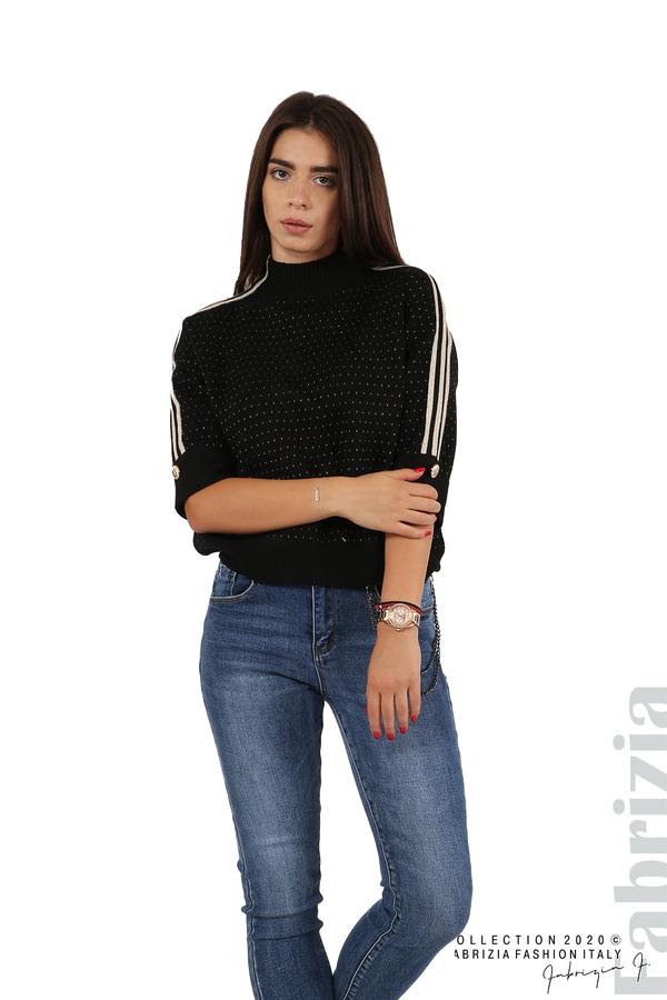 Блуза с къс ръкав и кантове на раменете черен 3 fabrizia