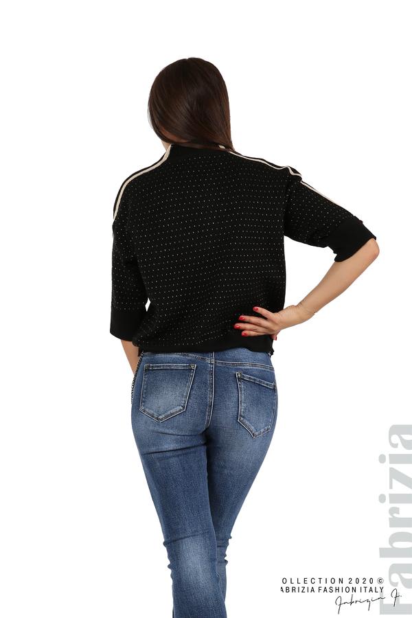 Блуза с къс ръкав и кантове на раменете черен 6 fabrizia