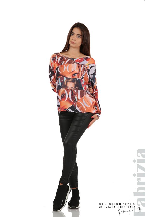 Блуза фино плетиво със снимки и надписи оранж 4 fabrizia