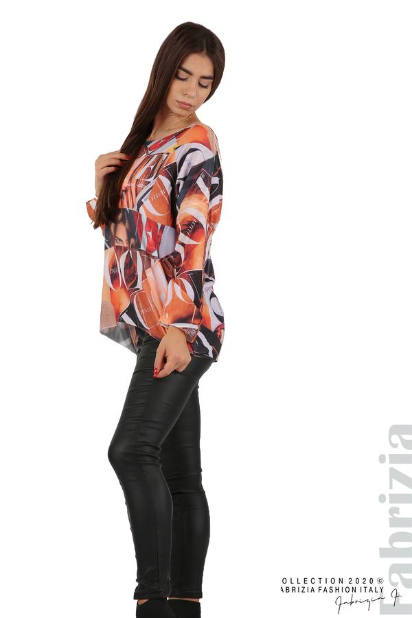 Блуза фино плетиво със снимки и надписи оранж 3 fabrizia