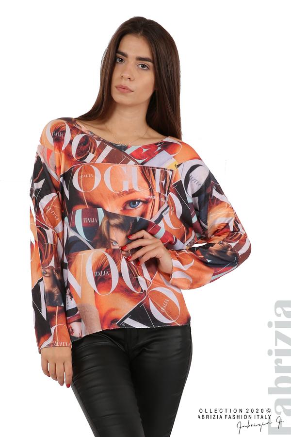 Блуза фино плетиво със снимки и надписи оранж 2 fabrizia