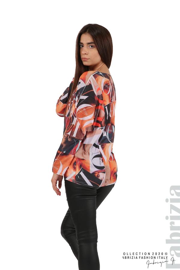 Блуза фино плетиво със снимки и надписи оранж 5 fabrizia