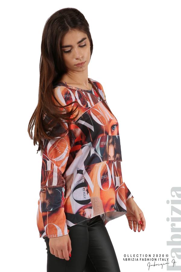 Блуза фино плетиво със снимки и надписи оранж 6 fabrizia