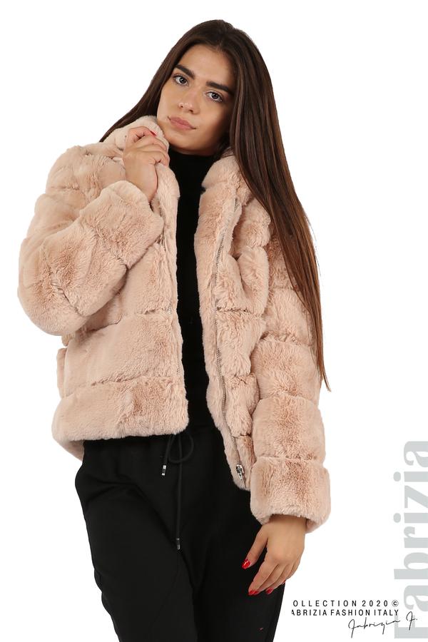 Късо палто от пух с качулка пудра 2 fabrizia