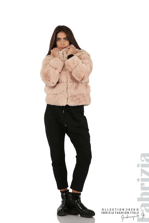 Късо палто от пух с качулка пудра 3 fabrizia