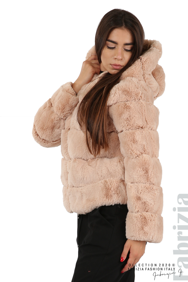Късо палто от пух с качулка пудра 4 fabrizia