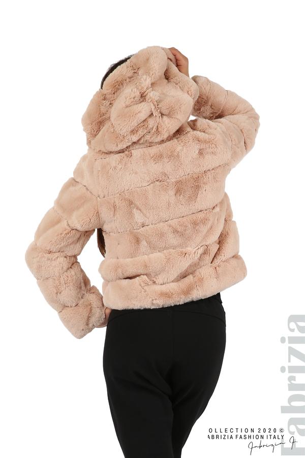 Късо палто от пух с качулка пудра 5 fabrizia