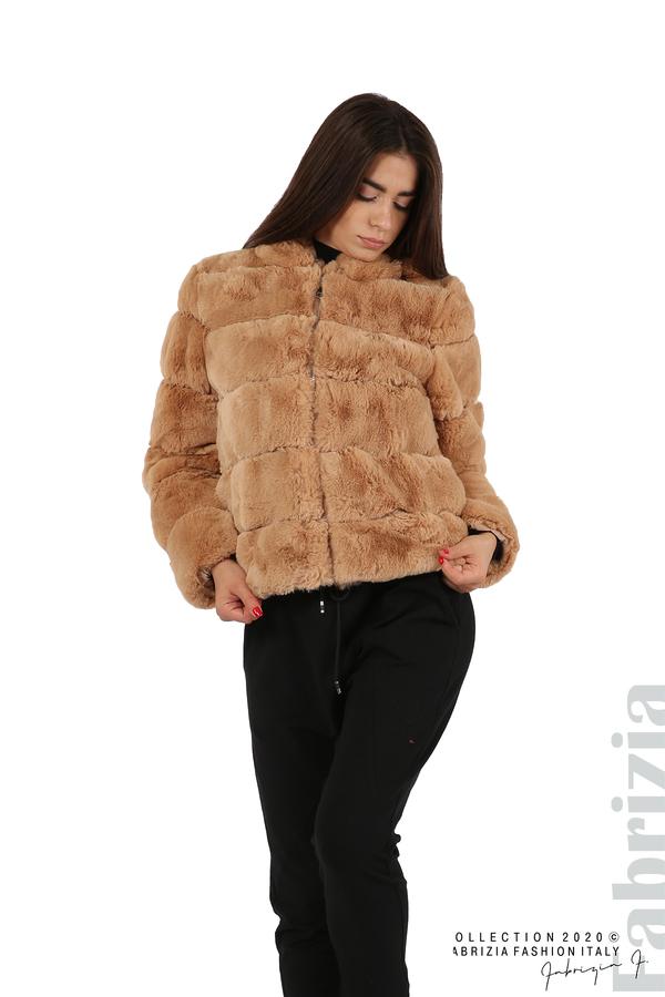Късо палто от пух с качулка камел 1 fabrizia