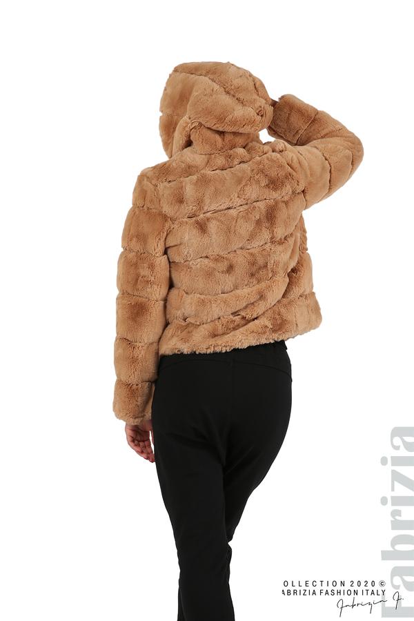 Късо палто от пух с качулка камел 5 fabrizia
