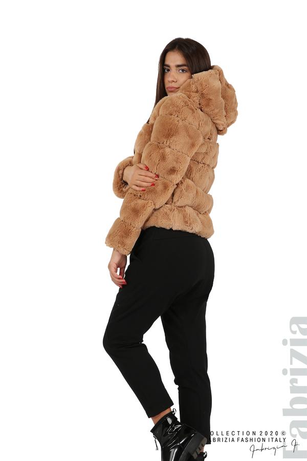 Късо палто от пух с качулка камел 3 fabrizia