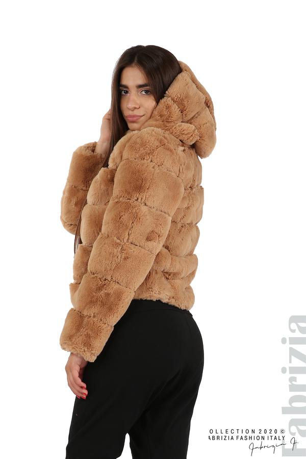 Късо палто от пух с качулка камел 6 fabrizia