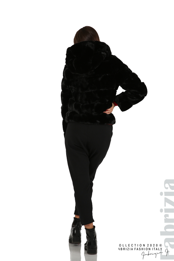 Късо палто от пух с качулка черен 5 fabrizia
