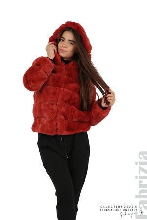 Късо палто от пух с качулка