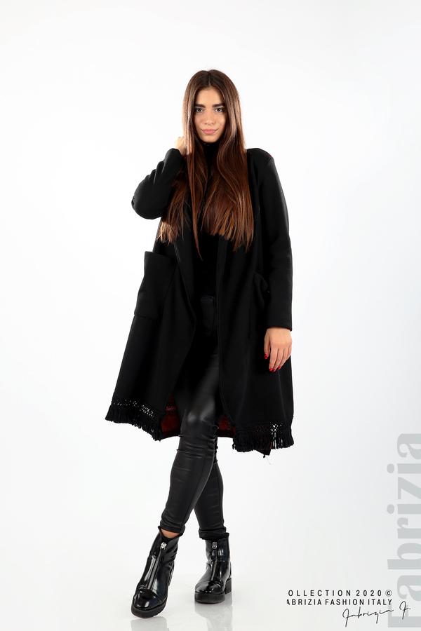 Палто с ресни и ефектен гръб черен/бежов 3 fabrizia